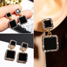 Luxury Square Black Rhinestone Drop Dangle Ear Stud Earrings Geometric
