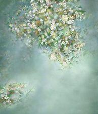Jade Blu Piccolo Bambino Bianco Fiore Sfondo Fondale Vinile Foto 5X7FT 150X220CM