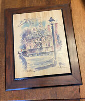 JOHN HAYMSON Governor's Palace Williamsburg Watercolor VA Print On Board Framed