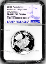 2018 Australia HIGH RELIEF 1oz Silver Kookaburra $1 Coin NGC PF69 +OGP ER Label