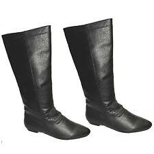 WOMENS LADIES FASHION BLACK FLAT MIDCALF SLOUCH BIKER RIDING BOOTS SHOE SIZE 202