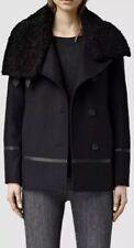 Allsaints Okito Pea Coat.uk 8(fits 10)Ink.£358.Real Shearling Collar