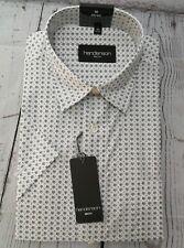 henderson GCM Kurzarm Hemd Gr. XL 43/44 Kentkragen  Weiß mit Muster