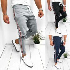 Fashion Men Joggers Striped Patchwork Drawstring Sweatpants Trousers Long Pants