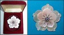 Pink & White Mother of Pearl Carved Flower Amethyst  Sterling Silver Pendant Pin
