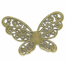 """Lot of 5 BUTTERFLY Antique Bronze-tone FILIGREE WRAPS 1-3/4"""" x 1-1/4"""" (0312)"""