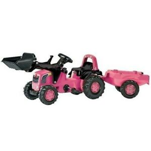 New Rolly Toys Ride on Pink Pedal Tractor with Loader + Trailer Medium Size 2+