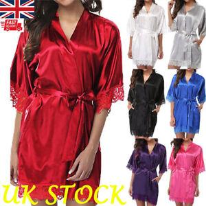 Women Sexy Lace Satin Silk Nightdress Lady Lingerie Wrap Dress Robe Sleepwear UK