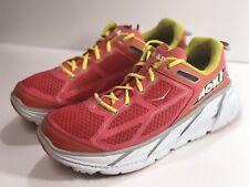 Hoka One One Women's Clifton Pink Orange Track White Running Shoe Sz 9.5