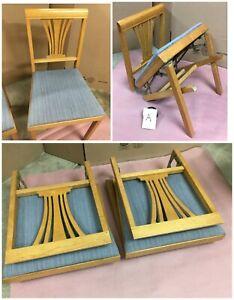 **2 Vintage LEG-O-MATIC AUTO-FOLD MCM FOLDING CHAIRS MAPLE HARP BACK BLUE 1957