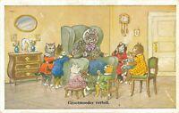Cats Dressed Like Humans Grandma Tells Vintage Postcard Kittens 06.30