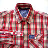 Superdry Mens Button Shirt Size M Slim Long Sleeve Red Plaid Cotton