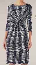 WINDSMOOR at JOHN LEWIS Navy Georgia Jersey Print Knee Length Dress UK 12 £99