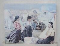 Grande huile sur toile Gitanes aux Saintes Maries de la Mer signée