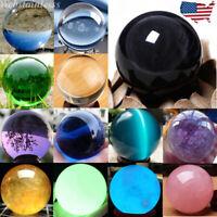 US Natural Quartz Magic Gemstone Sphere Crystal Reiki Healing Ball Stone Lot