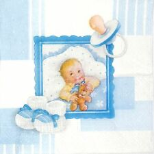 4x Paper Napkins -New Born Baby Boy Blue- for Party, Decoupage