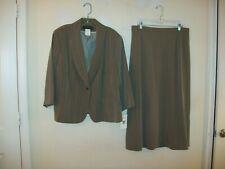 Harve Benard brown striped long skirt suit size 18W NWT