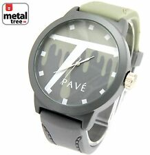 Men's Hip Hop Watch Double Tone Gray Silicone Band Watch/7467 GY+LGY