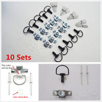 10X QUICK RELEASE D-RING ¼ TURN RACE FAIRING FASTENER Stainless Steel Rivet 17mm