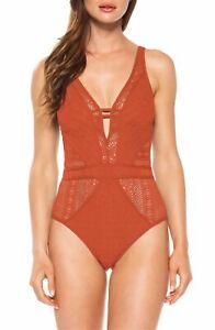 Becca By Rebecca Virtue Show & Tell Lace One-Piece Swimsuit Orange - Sz S - NWOT