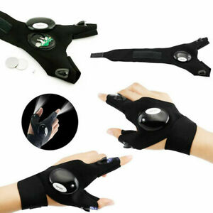 LED Flashlight Fingerless Gloves Outdoor Torch for Fishing Camping Hiking Light