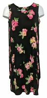 Susan Graver Women's Plus Sz 1X Print Liquid Knit Sleeveless Tiered Dress Black