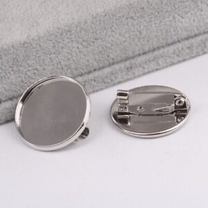 20x Gloss Silver Brooch Making Cabochon Bezel Settings Glass Trays Brooches Pins