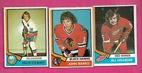 1974-75 OPC HAWKS MARKS RC + NY STEWART RC + WINGS HOGABOAM RC CARD (INV# C3277)