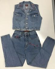 "Vintage  80's ""No Excuses""  Embroidered Blue Jean Denim Vest And Jeans"