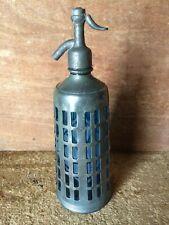 Siphon de bistrot verre Bohême bleu et métal nickelé M Clerc Poitiers 1936