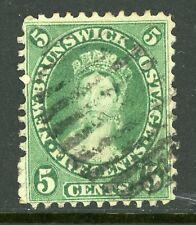 Canada 1860 New Brunswick 5¢ Queen Victoria Scott #8 VFU  F241 ⭐⭐⭐⭐⭐⭐
