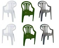 Plastic Low Back Chair Patio Outdoor Garden Picnic Seat Armchair Pack of 2,4,6