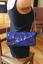 "NWT BCBG MAX AZRIA ""Bella"" Clutch Convertible Handbag in Blue Depth Sequin"