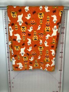 """Orange Halloween Jack-O-Lantern Ghost Spider Throw Blanket 70""""x50"""""""