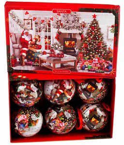 Traditional Santa Baubles In Gift Box - Christmas Tree Decorations (Set of 6)
