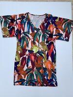 Trina Turk Dress Floral Yellow White Black Blue Orange Pink Short Sleeve 10