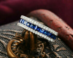 3Ct Princess Cut Blue Sapphire Eternity Wedding Band Ring 14K White Gold Finish
