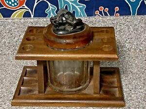 Vintage Pattberg Wood 6 Slot Walnut? Pipe Stand Rack Dragon & Koi Fish Humidor