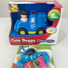 Musical Baby Cute Buggy Police Car and Sesame Street Cookie Monster Rattle Set