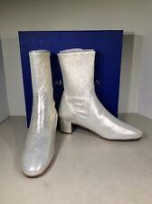 Stuart Weitzman Ernestine Women's Sz 8M Silver Suede Block Heel Bootie X1-685