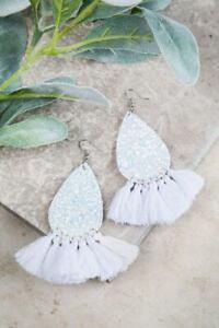 WOMENS LADIES FRINGE Earrings, White Glitter