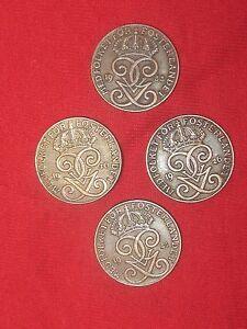 WHOLESALE LOT 4- 20MM 2 ORE SWEDEN SWEDISH CROWN COIN VINTAGE ANTIQUE COINS