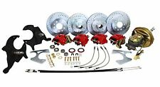 """DELUXE 1964-66 CHEVY CHEVELLE POWER FRONT & REAR 4 WHEEL DISC BRAKE KIT, 2"""" DROP"""