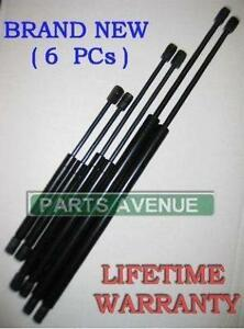 (6 PIECES) 2 HOOD 2 WINDOW GLASS & 2 REAR LIFTGATE HATCH TRUNK SUPPORTS SHOCKS