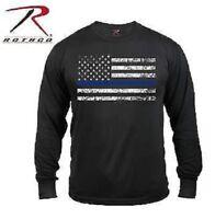 Black USA Flag Thin Blue Line LONG SLEEVE T SHIRT Police Law Enforcement New