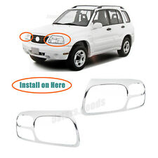 Chrome Front Headlight Lamp Covers Trims For 1999-2005 Suzuki Grand Vitara SUV