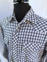 Wrangler Mens Medium Western Blue and White Plaid Pearl Snap Long Sleeve Shirt