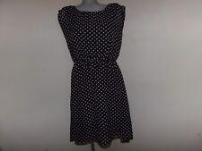 MAURICES Black & White Dots Polyester Lined Hi-Lo Hem Career Dress Sz Large VGC