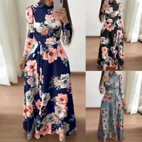 Women's Boho Floral Strappy Maxi Dresses Lady Summer Holiday Party Evening Dress