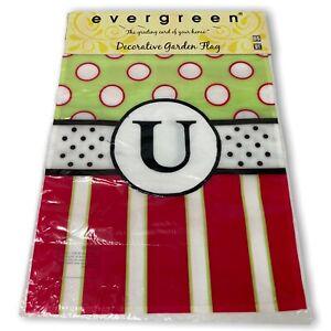 "Monogram Initial ""U"" Evergreen Applique Garden Flag 12.5"" x 18"" Polka Dot Pink.."